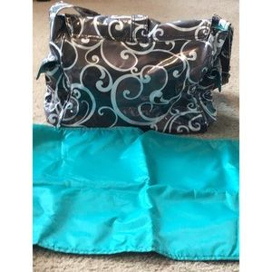 KALENCOM DIAPER BUCKLE BAG COATED SWIRLS B & W